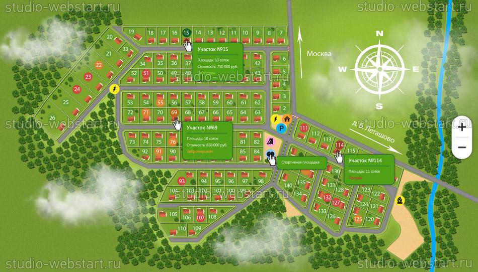 Интерактивные карты для земельных участков